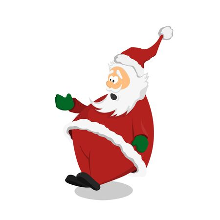 Surprised Santa Claus in cartoon style. Christmas character on white background. Isolated image of stupored man Illustration