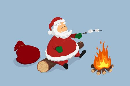 Resting Santa near bonfire. Cristmas isolated image. Relaxing man with gifts fries marshmallows. Forest campfire