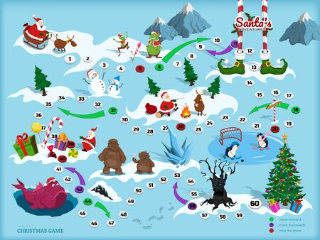 Christmas map with maze. Adventure board game for children. Boardgame in cartoon style. Santa, deer, bigfoot and elf in isometric view. Path through labyrinth. Puzzle journey