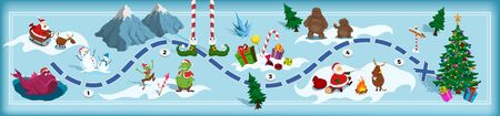 Christmas map with maze. Adventure board game for kids. Boardgame in cartoon style. Santa, deer, bigfoot and elf in isometric view. Fantasy way. Holiday panorama