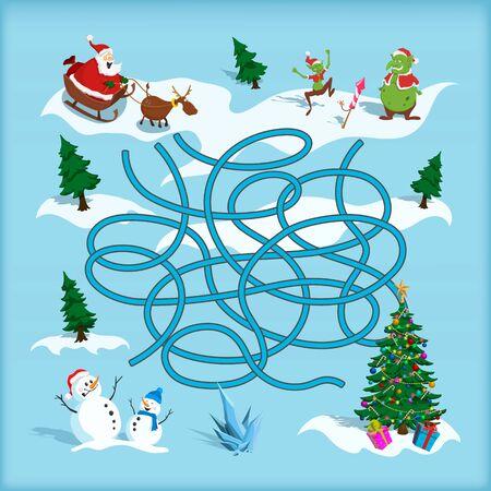 Labyrinthe de Noël. Labyrinthe des enfants. Jeu de dessin animé : cherchez le chemin. Aidez le Père Noël à trouver le chemin de l'arbre de Noël. Quête des vacances d'hiver Vecteurs