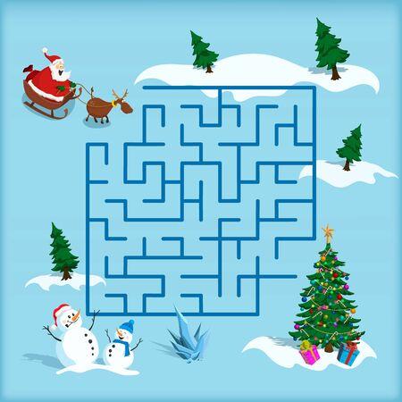 Christmas maze. Kids labyrinth. Cartoon game: search the path. Help Santa find the way to xmas tree. Winter holiday puzzle Ilustração