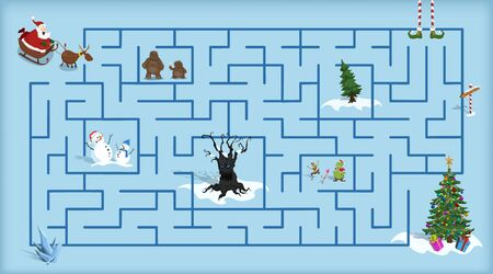 Christmas maze. Kids labyrinth. Cartoon game: search the path. Help Santa find the way to xmas tree. Winter holiday puzzle Stock Illustratie