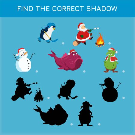Christmas game in cartoon style. Find the correct shadow. Search right silhouettes. Educational puzzle for children Illustration
