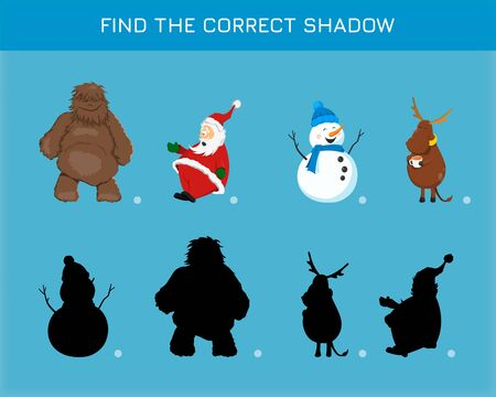 Christmas game in cartoon style. Find the correct shadow. Search right silhouettes. Educational puzzle for kids. Vector illustration.
