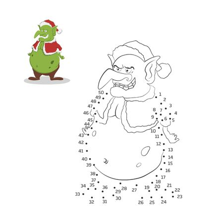 Dot to dot christmas game. Number puzzle for kids in cartoon style. Isolated goblin in Santa Claus costume. Activity book. Fantasy monster. Vector illustration