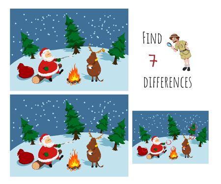 Find 7 differences. Educational game for children. Cartoon Santa near bonfire. Christmas puzzle Ilustração