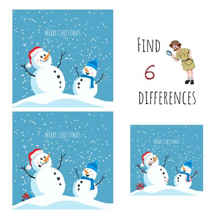 Find 6 differences. Educational game for children. Cartoon snowman in santa hat. Christmas puzzle. Vector illustration.
