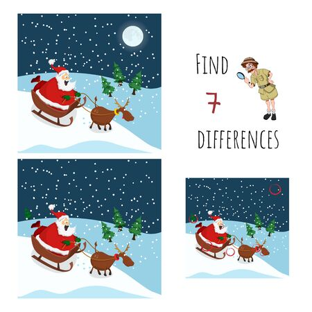 Find 7 differences. Educational game for children. Cartoon Santa and deer. Christmas puzzle. Vector illustration.