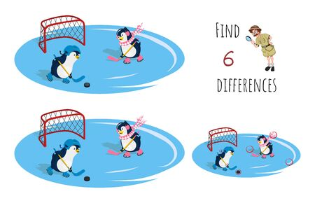 Find 6 differences. Educational game for children. Cartoon penguins playing hockey. Winter sport. Kids puzzle. Vector illustration