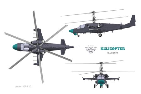 Military helicopter 3d blueprint. Top, side and front views of armed air vehicle. Industrial isolated image. War copter Ilustração