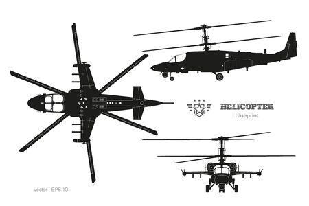 Schwarze Silhouette des Militärhubschraubers. Draufsicht, Seitenansicht und Frontansicht eines bewaffneten Luftfahrzeugs. Industrieller isolierter Bauplan. Kriegskopter