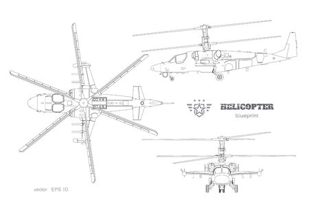 Outline blueprint of military helicopter. Top, side and front views of armed air vehicle. Industrial isolated image. War copter