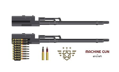 Machine gun of airplane or helicopter. Isolated image of military weapon. Aircraft rifle with ammunition. Vector illustration