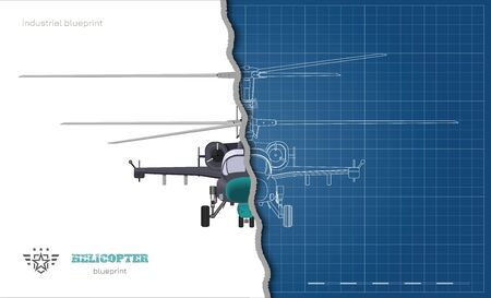Outline blueprint of military helicopter. Front views of armed air vehicle. Industrial isolated 3d image. War copter Ilustração