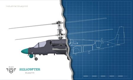 Outline blueprint of military helicopter. Side views of armed air vehicle. Industrial isolated 3d image. War copter. Vector illustration