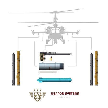 Military weapon of airplane or helicopter. Isolated 3d image of airplane ammo. Aircraft ammunition: missile, bomb and machine gun