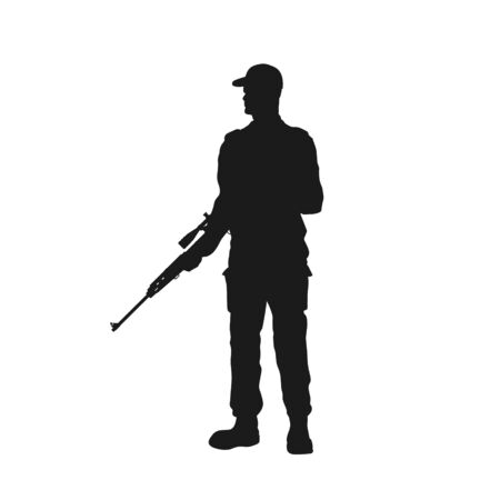 Black silhouette of guard with gun. Police officer with sniper rifle. Isolated image of prison security Ilustração