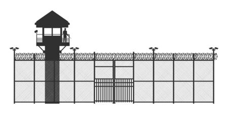Prison fence on white background. Black silhouette of jail exterior with steel grid. Isolated gate. Symbol of freedom. Industrial scene. Vector illustration Ilustração