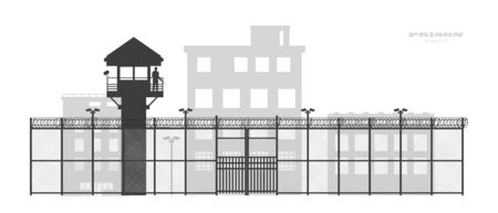 Prison fence with building. Black silhouette of jail exterior with steel grid. Isolated gate. Symbol of freedom. Industrial scene. Vector illustration