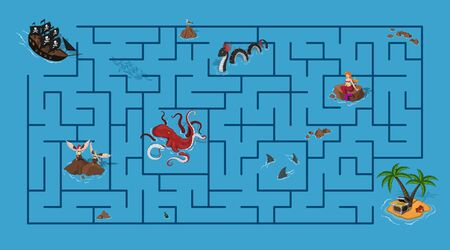 Kids maze. Pirate game with labyrinth. Help ship find way to island. Cartoon puzzle in isometric view. Sea map with fantasy monsters. Vector illustration