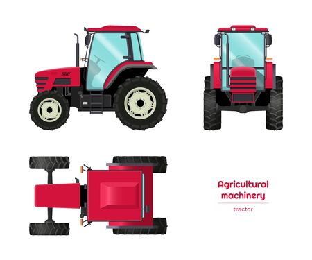 Isolated tractor. Side, front and top view of agriculture machinery. Farming vehicle in cartoon style. Industry blueprint. Vector illustration