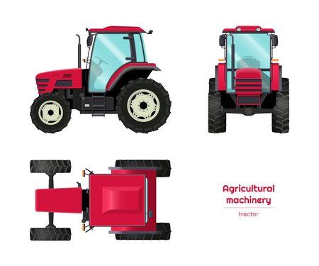 Trattore isolato. Vista laterale, frontale e dall'alto di macchine agricole. Veicolo agricolo in stile cartone animato. Progetto di settore. Illustrazione vettoriale