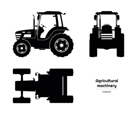 Siluetta nera del trattore. Vista laterale, frontale e dall'alto di macchine agricole. Veicolo agricolo. Disegno isolato industria. Illustrazione vettoriale