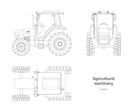 Outline blueprint of  tractor. Side, front and top view of agriculture machinery. Farming vehicle on white background. Industry isolated drawing. Vector illustration Ilustração