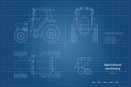 Outline blueprint of tractor. Side, front and top view of agriculture machinery. Farming vehicle. Industry drawing
