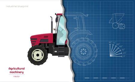 Outline blueprint of tractor. Side view of agriculture machinery. Farming vehicle. Industry 3d drawing