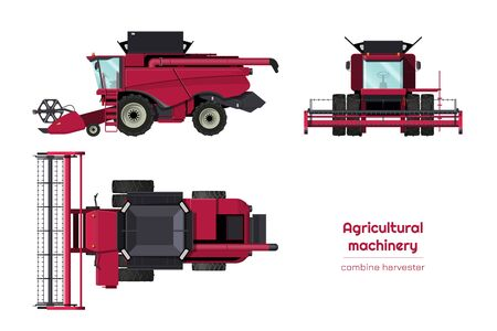 Isolated combine harvester. Side, front and top view of agriculture machinery. Farming vehicle in cartoon style. Industry 3d blueprint. Vector illustration