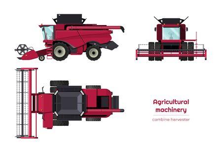 Isolierte Mähdrescher. Seitenansicht, Vorder- und Draufsicht der Landmaschinen. Landwirtschaftsfahrzeug im Cartoon-Stil. 3D-Blaupause der Industrie. Vektor-Illustration