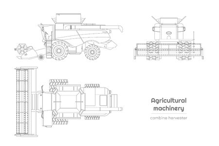 Outline blueprint of combine harvester. Side, front and top view of agriculture machinery. Farming vehicle on white background. Industry isolated drawing. Vector illustration