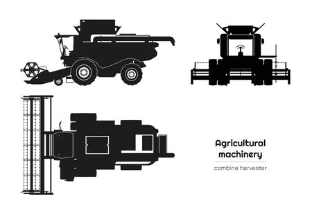 Black silhouette of combine harvester. Side, front and top view of agriculture machinery. Farming vehicle. Industrial isolated drawing Ilustração