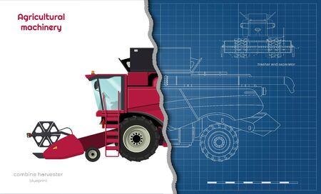 Outline blueprint of combine harvester. Side view of agriculture machinery. Farming vehicle on white background. Industrial 3d drawing. Industry document. Vector illustration