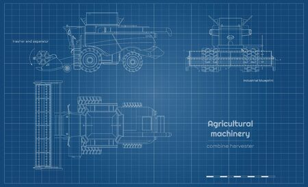 Outline blueprint of combine harvester. Side, front and top view of agriculture machinery. Farming vehicle. Industrial drawing. Indurtry document Ilustração