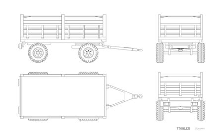 Isolated drawing of tractor trailer in outline style. Side, front and back view of agriculture machinery. Farming machinery on white background. Industrial blueprint Ilustração