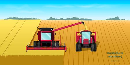 Agriculture machinery. Harvester combine and tractor on field. Industrial landscape. Farmer work panorama. Harvesting scene