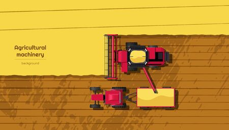 Agriculture machinery. Top view of harvester combine and tractor on field. Industrial landscape. Rural background. Farmer work panorama. Harvesting scene. Vector illustration Ilustração