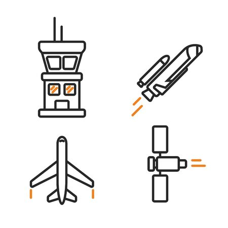 Space icons in linear style. Simple cosmic line signs. Airplane, spaceship, sputnik and tower symbols