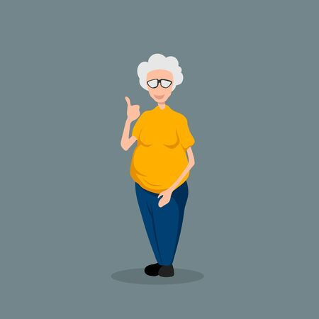 Grandmother in cartoon style. Isolated image of old lady. Funny grandma in yellow shirt. Vector illustration Ilustração