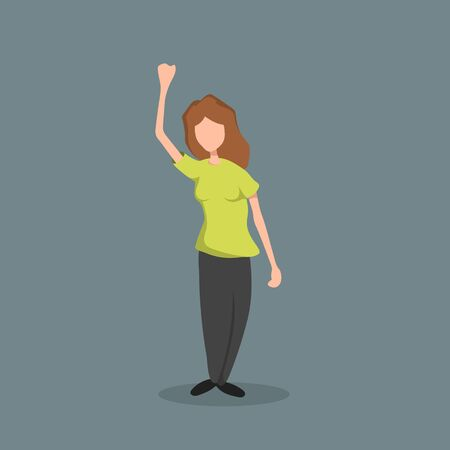 Woman with raised hand. Isolated girl's image in cartoon style. Young female in green t-shirt. Protest activist. Vector illustration