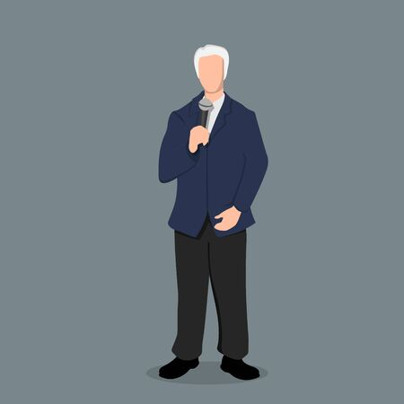 Politician in cartoon style. Business speaker with micriphone. Isolated image of reporter. Seminar host in blue suit