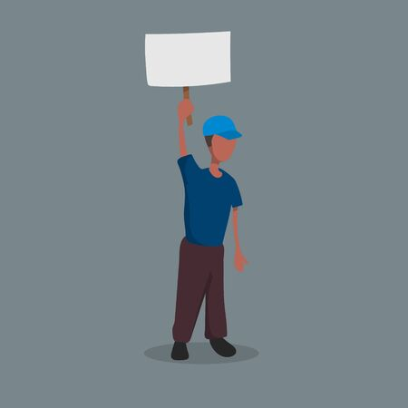 Afro-American with a poster in his hands. Political Event. Protest. Isolated image of a man with banner. Cartoon character. Vector illustration Ilustração