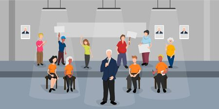 Politic on debate. Political coucus in cartoon style. Politician with an electorate in the show. Government candidate and activists at the seminar. Vector illustration Ilustração