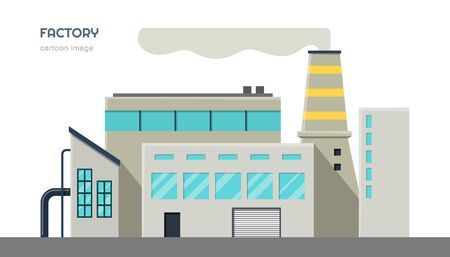 Factory exterior. Isolated industrial image in cartoon style. Urban scene with industry building. Vector illustration