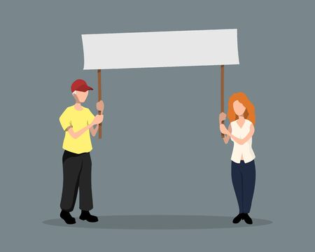 Man and girl with poster. Political event. Protest. Activists in flat style. Isolated image of  people with banner. Cartoon characters. Vector illustration