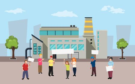 Protesting people on factory background. Activists with posters at the picket. Industrial rally scene. Vector illustration Ilustração