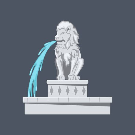 Isolated lion statue. Stone fontain in cartoon style.